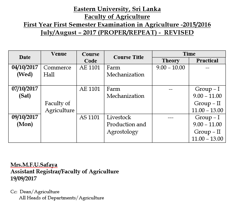 26092017 revised 1st Year 1st Seme Time Table Agri